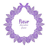 Watercolor floral wreath with lilac flower. Invitation, Greeting card background Stock Image