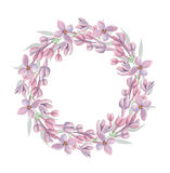 Watercolor floral wreath with lilac flowers Royalty Free Stock Images