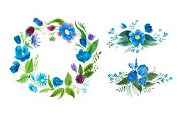 Watercolor floral wreath made of blue wild flowers isolated on white background.  Royalty Free Stock Images