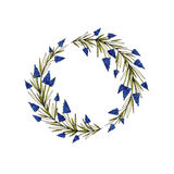 Watercolor floral wreath with muscari, green leaves and branches. Used for wedding invitation, greeting cards Stock Photos