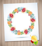 Watercolor floral wreath with paper flower on wood planks Royalty Free Stock Photos
