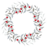 Watercolor floral wreath with red berries Stock Images