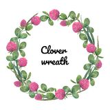 Watercolor floral wreath of red clover royalty free illustration