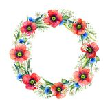 Watercolor floral wreath. Summer flowers. Hand drawn illustration. Floral frame. royalty free stock image