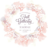Watercolor Floral Wreath with Text Area - Vector Stock Photography
