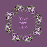 Watercolor floral wreath vector clip art Stock Photo