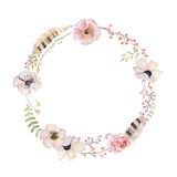 Watercolor floral wreath. Watercolour natural frame: leaves, fea Stock Image