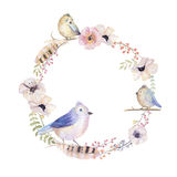 Watercolor floral wreath. Watercolour natural frame: leaves, fea Stock Photography