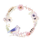 Watercolor floral wreath. Watercolour natural frame: leaves, fea Stock Photos