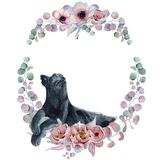 Watercolor floral wreaths with black panther Royalty Free Stock Image