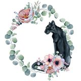 Watercolor floral wreaths with black panther Stock Images