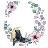 Watercolor floral wreaths with black panther Royalty Free Stock Images