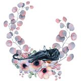 Watercolor floral wreaths with black panther Stock Image