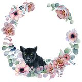 Watercolor floral wreaths with black panther Stock Photography