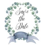 Watercolor floral wreaths with ribbon for your text. Floral banner. Wedding invitation. Save the date card royalty free stock images