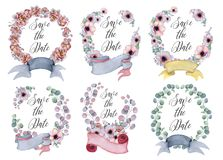 Watercolor floral wreaths with ribbon for your text. Floral banner. Wedding invitation. Save the date card royalty free stock image