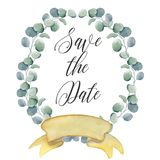 Watercolor floral wreaths with ribbon for your text. Floral banner. Wedding invitation. Save the date card stock image