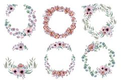 Watercolor floral wreaths with ribbon for your text. Floral banner. Wedding invitation. Save the date card stock photo