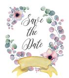 Watercolor floral wreaths with ribbon for your text. Floral banner. Wedding invitation. Save the date card stock images