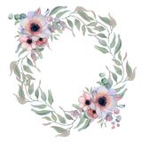 Watercolor floral wreaths with ribbon for your text. Floral banner. Wedding invitation. Save the date card royalty free stock photography