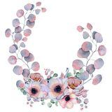 Watercolor floral wreaths with ribbon for your text. Floral banner. Wedding invitation. Save the date card stock photos