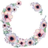 Watercolor floral wreaths with ribbon for your text. Floral banner. Wedding invitation. Save the date card royalty free stock photos