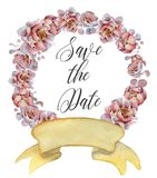 Watercolor floral wreaths with ribbon for your text. Floral banner. Wedding invitation. Save the date card royalty free stock photo