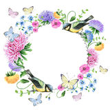 Watercolor floralframe with birds Royalty Free Stock Photos