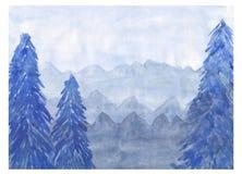 watercolor Floresta bonita no azul imagens de stock