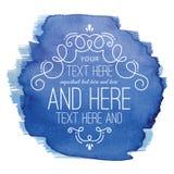 Watercolor Flourish Blue Label. A flourish design with a watercolor background. Flourish and watercolor background are on separate layers. Two layers stock illustration