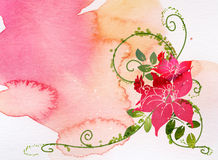 Watercolor of flower. Watercolor of red flower with green leaves Stock Photography