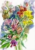 Watercolor flower vector illustration