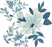 Watercolor of flower. Watercolor painting of flowers in a white background Royalty Free Stock Image
