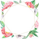 Watercolor flower arrangement with peonies and geometric golden frame. vector illustration