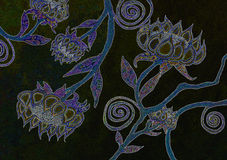 Watercolor Flower Art Backgrounds in Black. A colorful watercolor drawing/painting of an abstract bohemian flower design.  I made it in the winter when I looking Royalty Free Stock Photography
