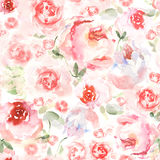 Watercolor flower background for invitation card. Floral hand-painted seamless pattern for greeting cards.  Stock Photography