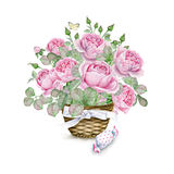 Watercolor flower basket with pink roses and candy Royalty Free Stock Images