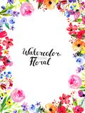Watercolor Flower Border Royalty Free Stock Image