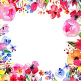 Watercolor Flower Border Royalty Free Stock Photography