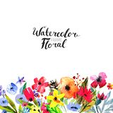 Watercolor Flower Border Royalty Free Stock Photo