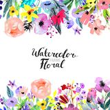 Watercolor Flower Border Stock Photography
