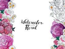 Watercolor Flower Border stock image