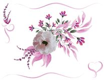 Watercolor flower bouquet royalty free stock image