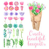 Watercolor flower bouquets Royalty Free Stock Images