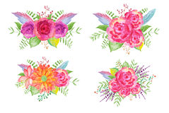 Watercolor Flower Bouquets Stock Photography