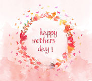 Watercolor with flower and butterflies shape of the wreath. Mothers day Stock Photo