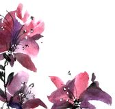 Watercolor flower card Stock Image