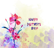 Watercolor flower card. Mothers Day Stock Images