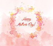 Watercolor flower card. Mothers day Royalty Free Stock Photography