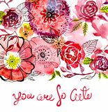 Watercolor flower card Stock Photos